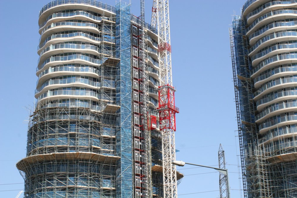 Reveal of the Hoola residential towers as the scaffolding was dismantled