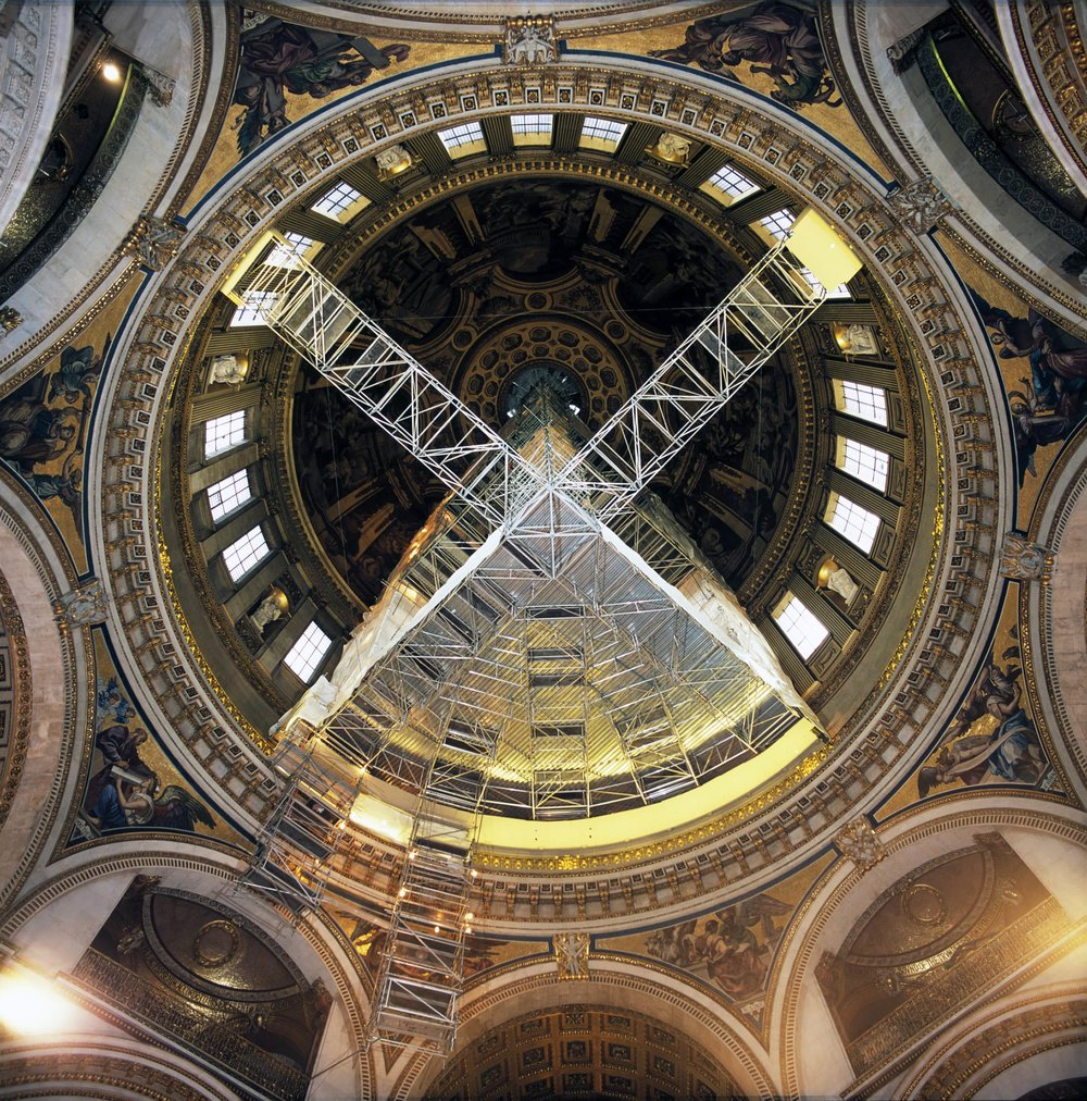 Fully suspended access scaffolding at St. Paul's Cathedral