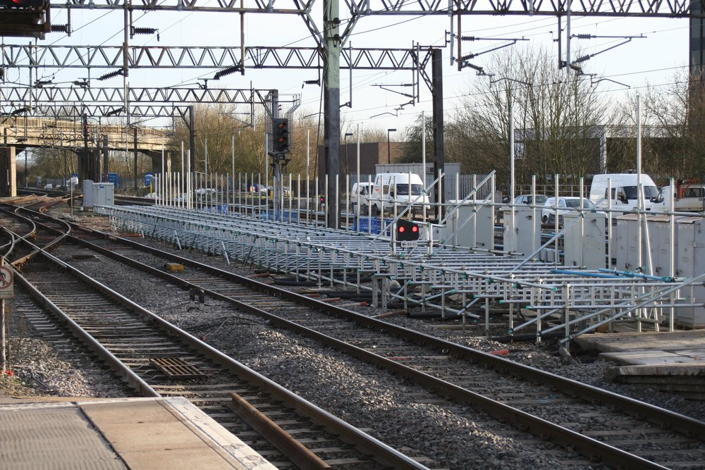 Standard scaffold components were used to construct the temporary platform at Bletchley Station