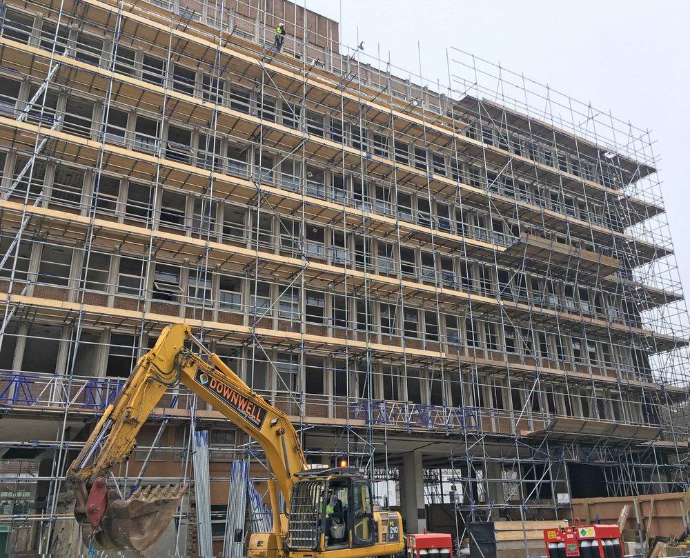 Erected scaffolding design for demolition