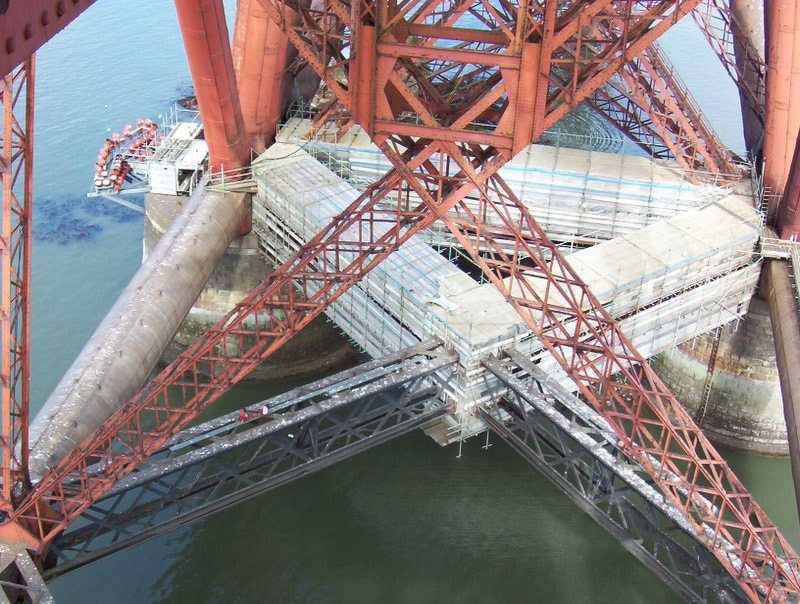 bespoke scaffolding design section on Forth Rail bridge