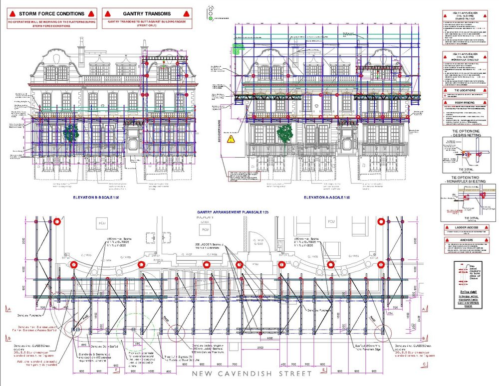 Drawings of front elevation of scaffold design