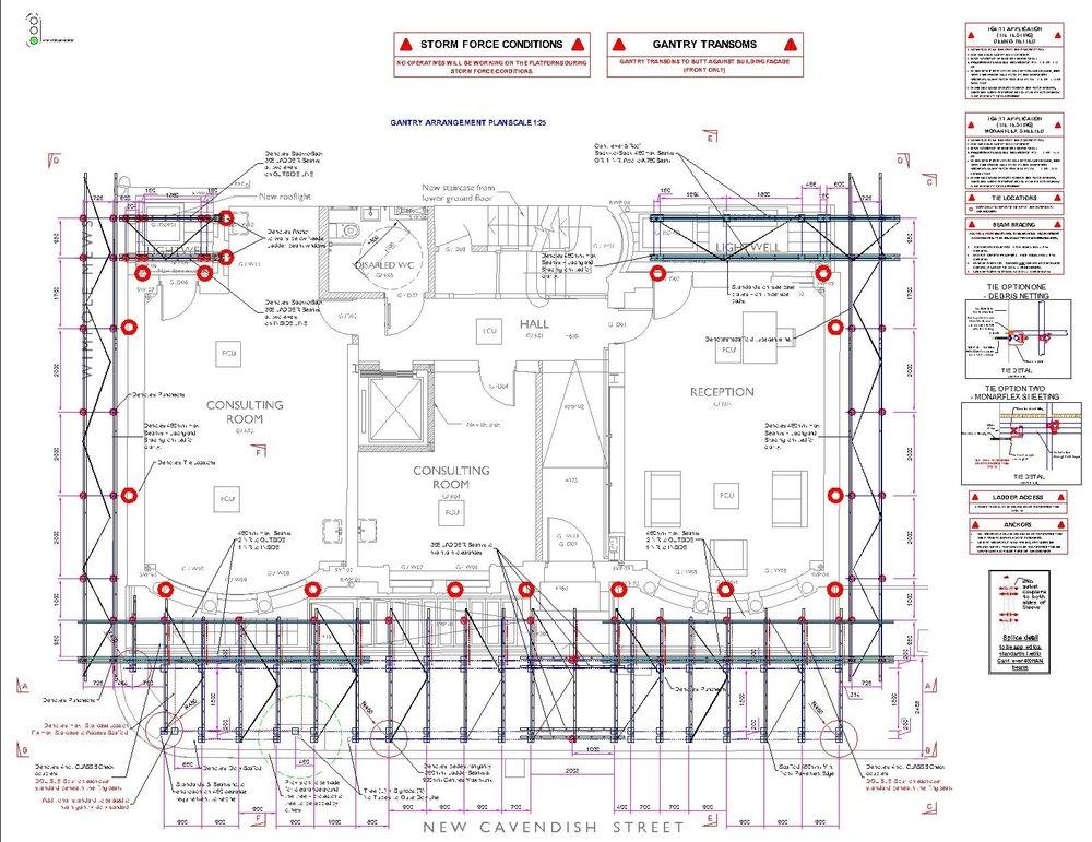 Birdseye view drawing of scaffold design