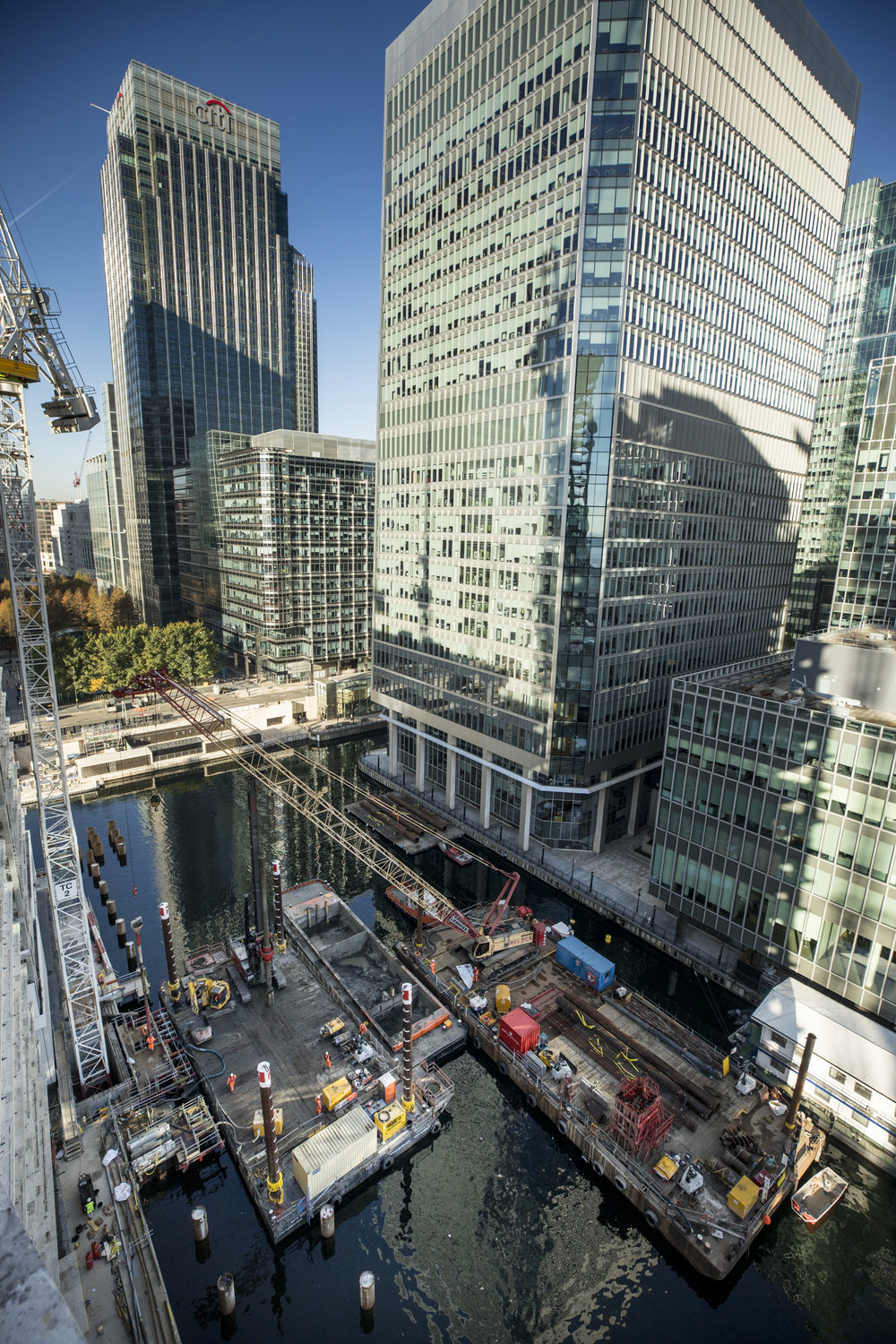 Temporary works platforms designed for the piling of Montgomery Bridge in Canary Wharf