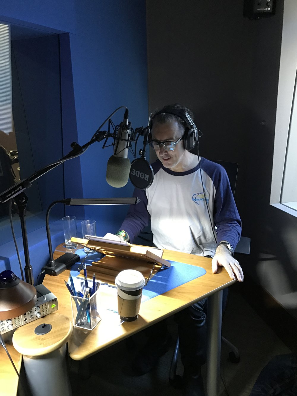 Alan Cumming in the recording studio.