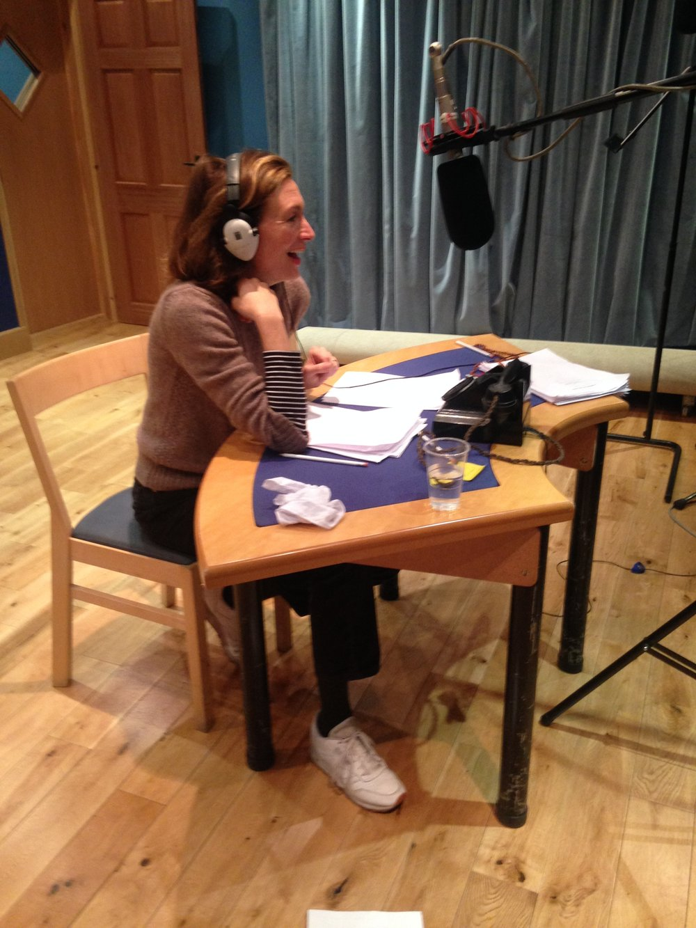 Annabel Mullion recording the part of Penelope.