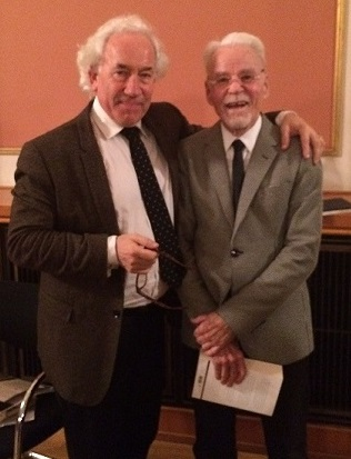 Simon Callow and Don Bachardy at a reading of Isherwood's work in Berlin.