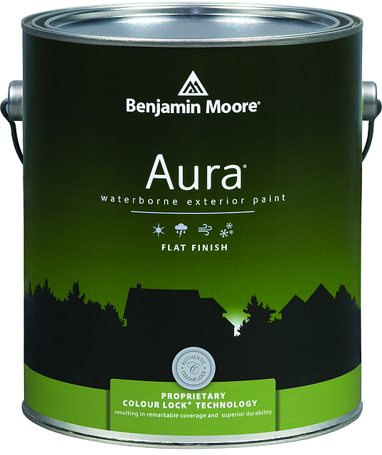 AURA® WATERBORNE EXTERIOR PAINT - Aura Exterior combines the outstanding advantages of our proprietary resins and Colour Lock™ technology to deliver rich, full colour and unprecedented durability. Aura protects against cracking, peeling, and fading and is also mildew and stain resistant. Aura Exterior is available in thousands of colours.