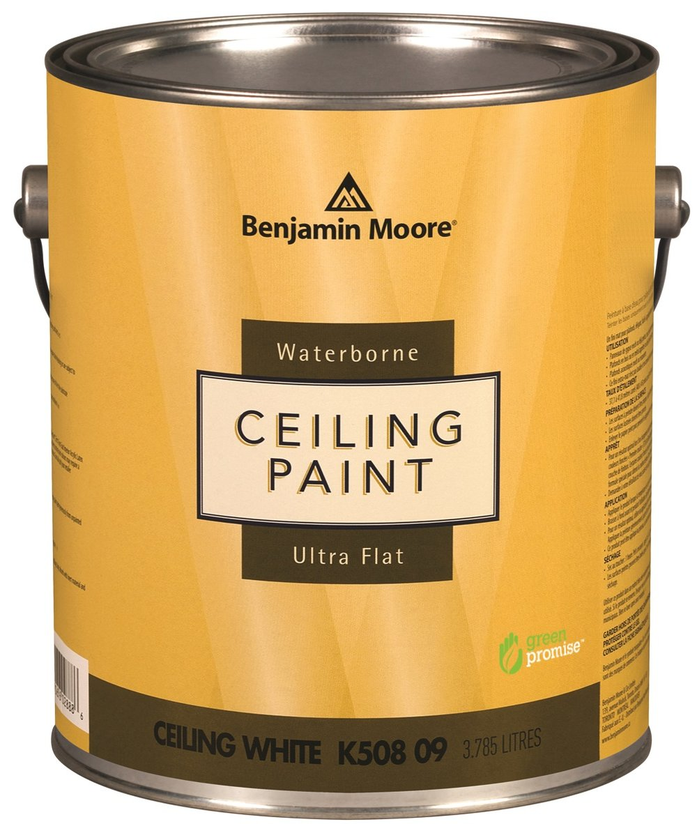 BENJAMIN MOORE WATERBORNE CEILING PAINT - Specifically formulated for ceilings, Waterborne Ceiling paint is ultra flat, hiding common ceiling imperfections for a look that is virtually flawless. Benjamin Moore Ceiling paint provides ample open time to ensure minimal lapping, has minimal spatter, and dries quickly for fast recoats.