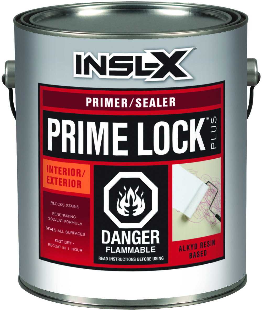 PRIME LOCK™ PLUS (PS-8000) - Prime Lock Plus is a fast-drying alkyd resin coating that primes and seals plaster, wood, drywall, and previously painted or varnished surfaces. It ensures the paint topcoat has consistent sheen and appearance (excellent enamel holdout), seals even the toughest stains without raising the wood grain, and can be top-coated with any latex or alkyd finish coat.