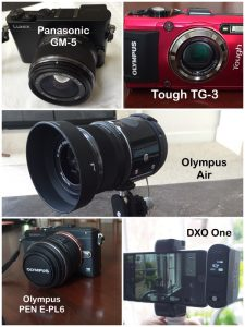 Olympus OM-D E-M1, Olympus Tough TG-3, Olympus Air, Panasonic GM-5, and DXO One on iPhone 6.