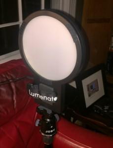 The ColorRight Lumenator on my MeFoto DayTrip tripod.