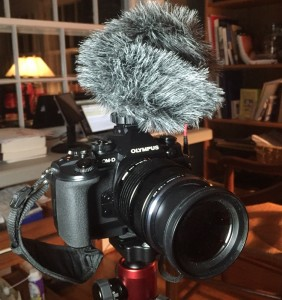My Olympus OM-D E-M1 with the small Rode VideoMicro mic attached.