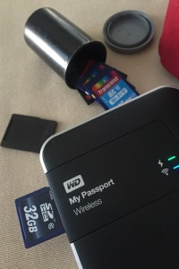 Backing up SD card to the MyPassport Wi-Fi drive.