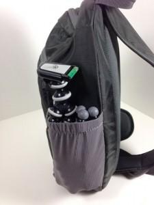 Side, elastic pocket for water bottle, etc. Here holding GorrillaPods.