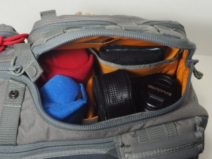 VSlinger side compartment open to camera.