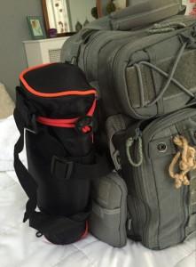 MeFoto DayTrip Tripod attached to Vanquest Bag