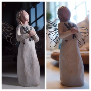 Praying Angel with Flash and without Flash