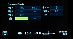 Onboard flash is turned off for actual flash firing. It provides a signal to fire off-camera flash.