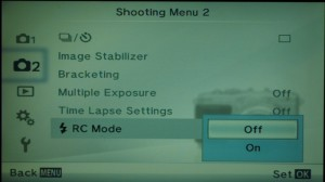 """Setting camera to RC Mode (""""remote control"""")"""