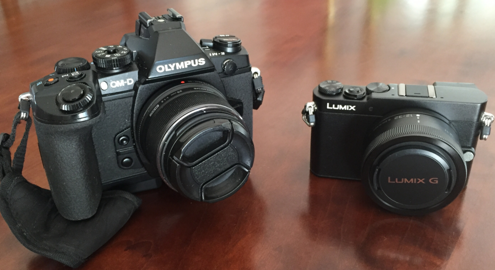 Olympus OM-D E-M1 with the 25mm lens and Panasonic GM-5 with the 12-32mm lens.