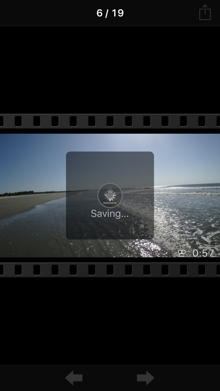 Transferring 57-second video clip from Tracker to my iPhone 6.