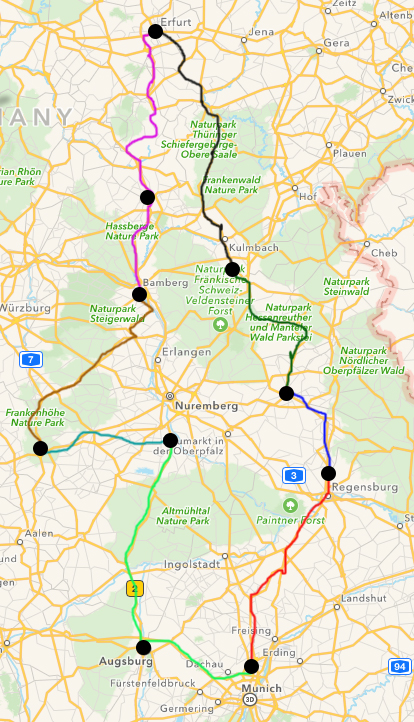 My general travel plans going counter clockwise from the Munich Airport in the south.