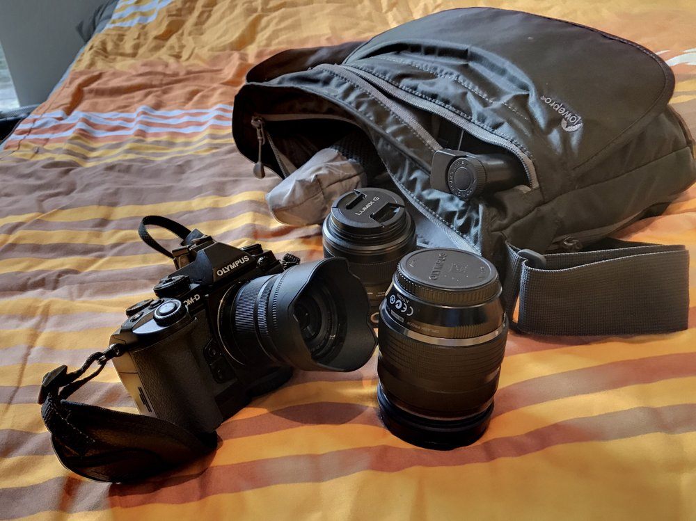 E-M1, GM-5 , and my 12-40mm with the Lowepro Streamline 250.