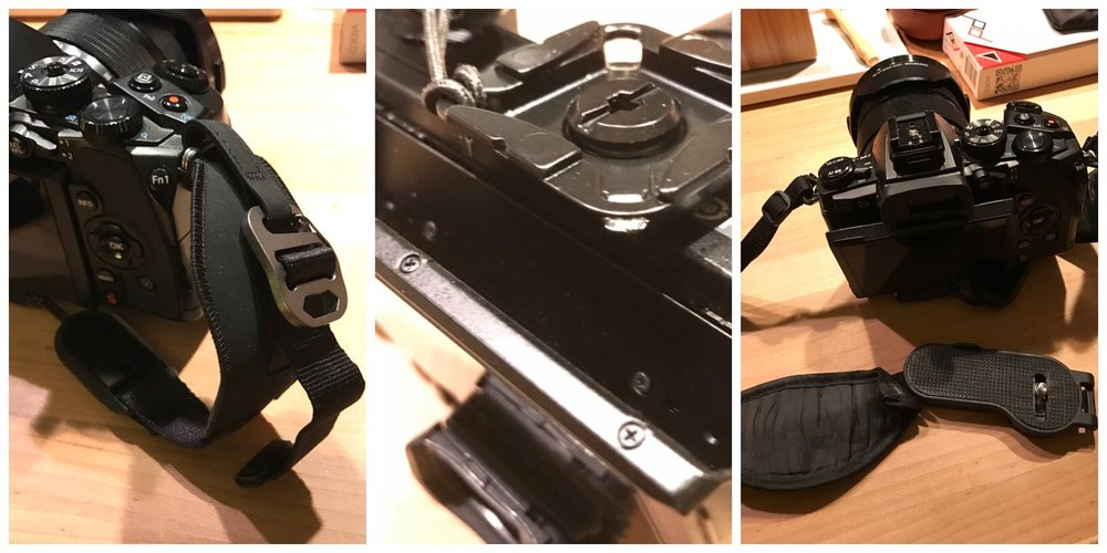 Middle image shows upside down camera with LCD tilting out unencumbered by the bottom connector.