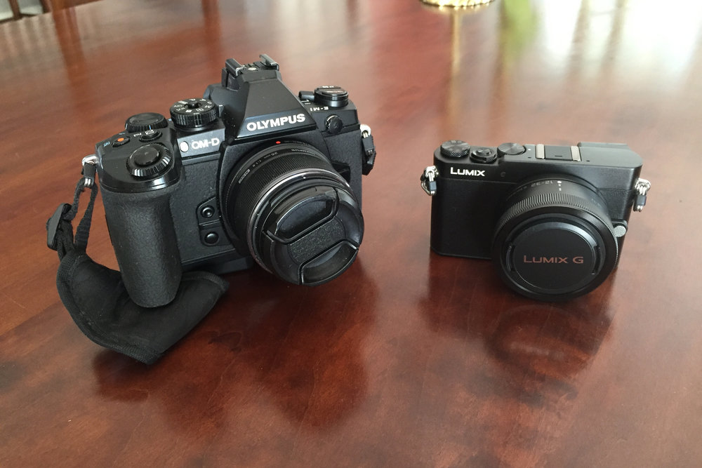 The E-M1 and the Panasonic GM-5 side by side.