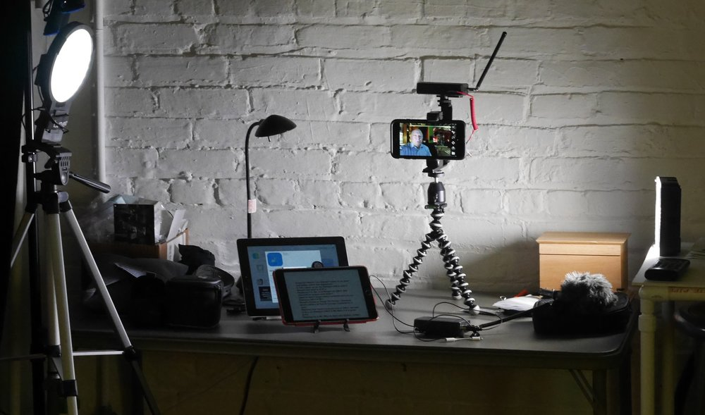 My former setup for video recording using small table top tripods.