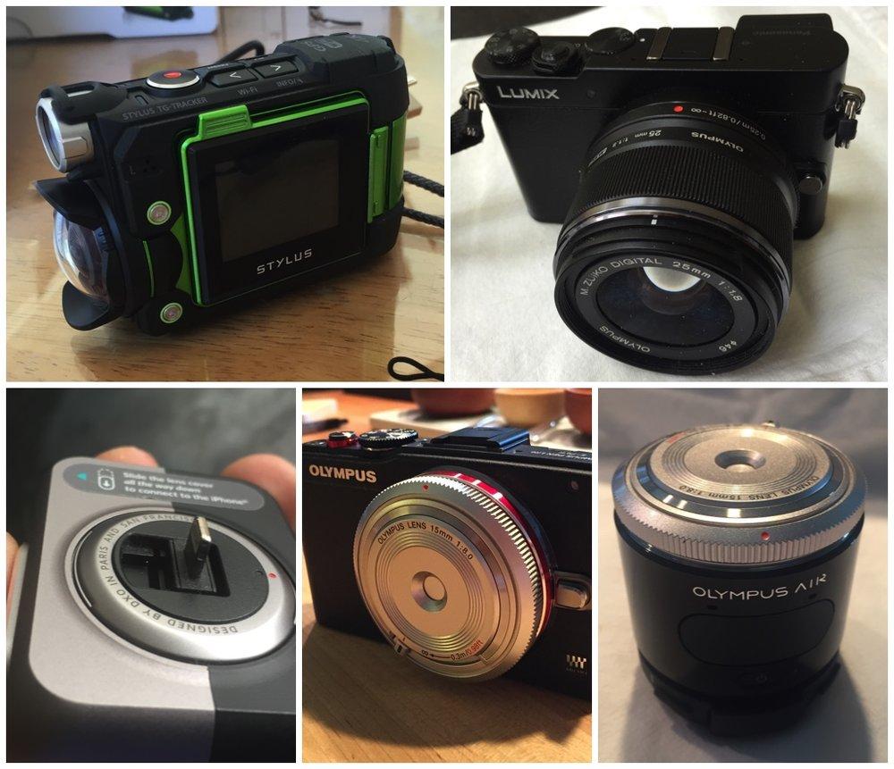 Olympus Tough TG-Tracker, Panasonic GM-5, DXO One, Olympus EPL-6, and the Olympus Air