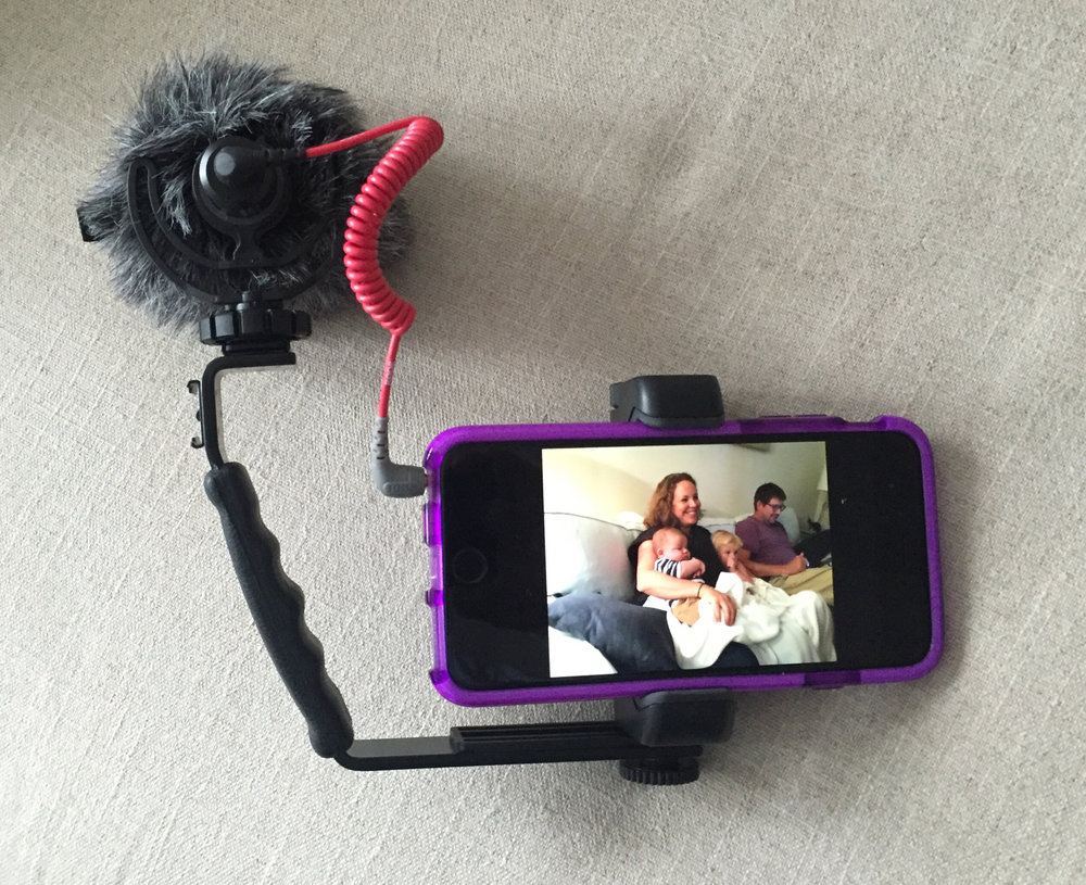 iPhone with Video Micro for recording video