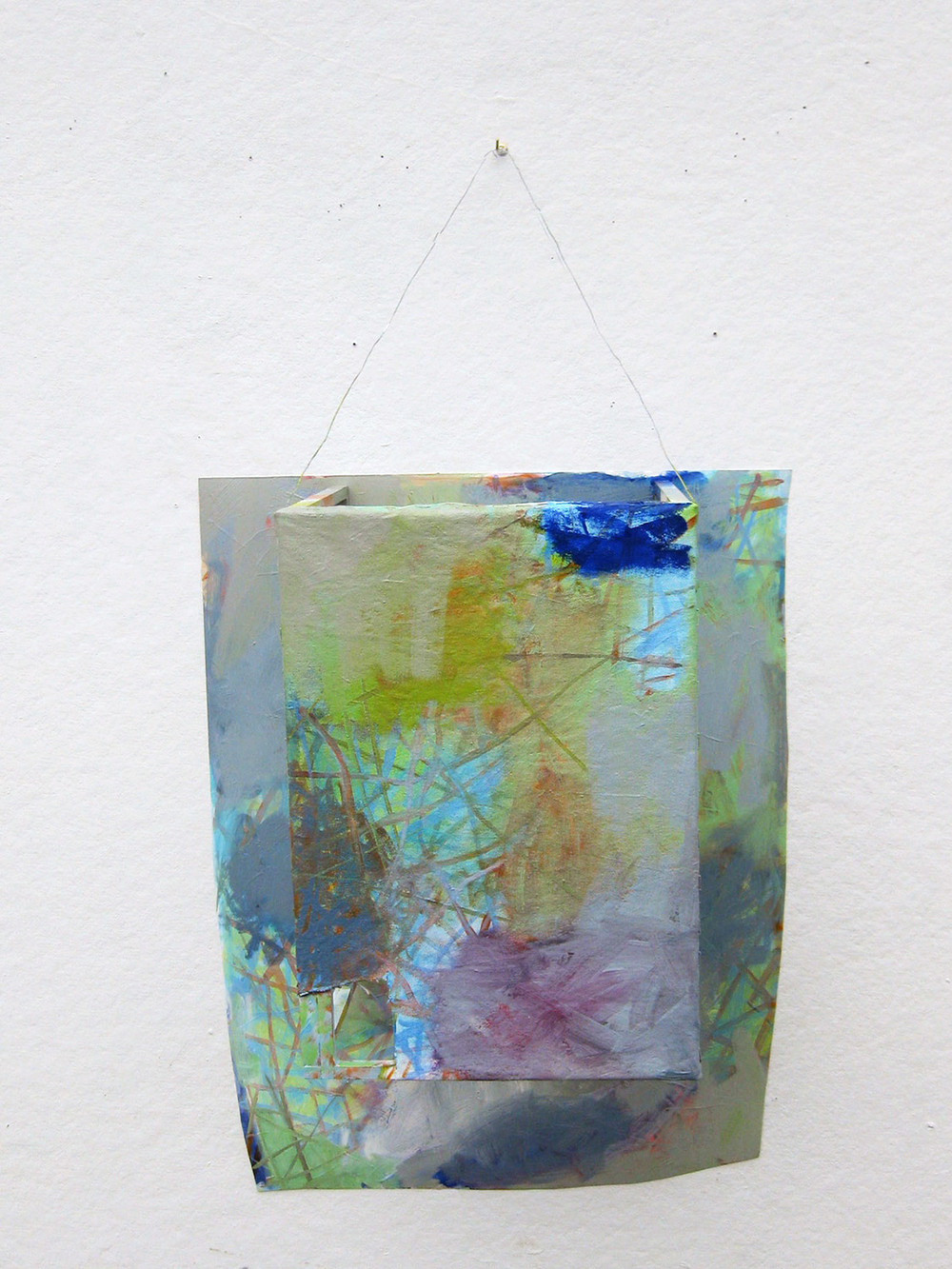 Possibly Now XI   Oil on canvas and polystyrene, wood, wire 24 × 14 × 9 inches  61 × 35.5 × 23 cm 2014