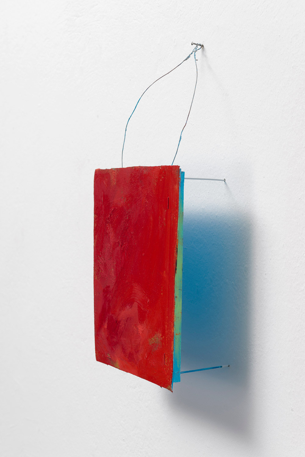 Possibly Now X   Oil on canvas, wood, wire 15 × 10.5 × 4 inches  38 × 27 × 10 cm 2014