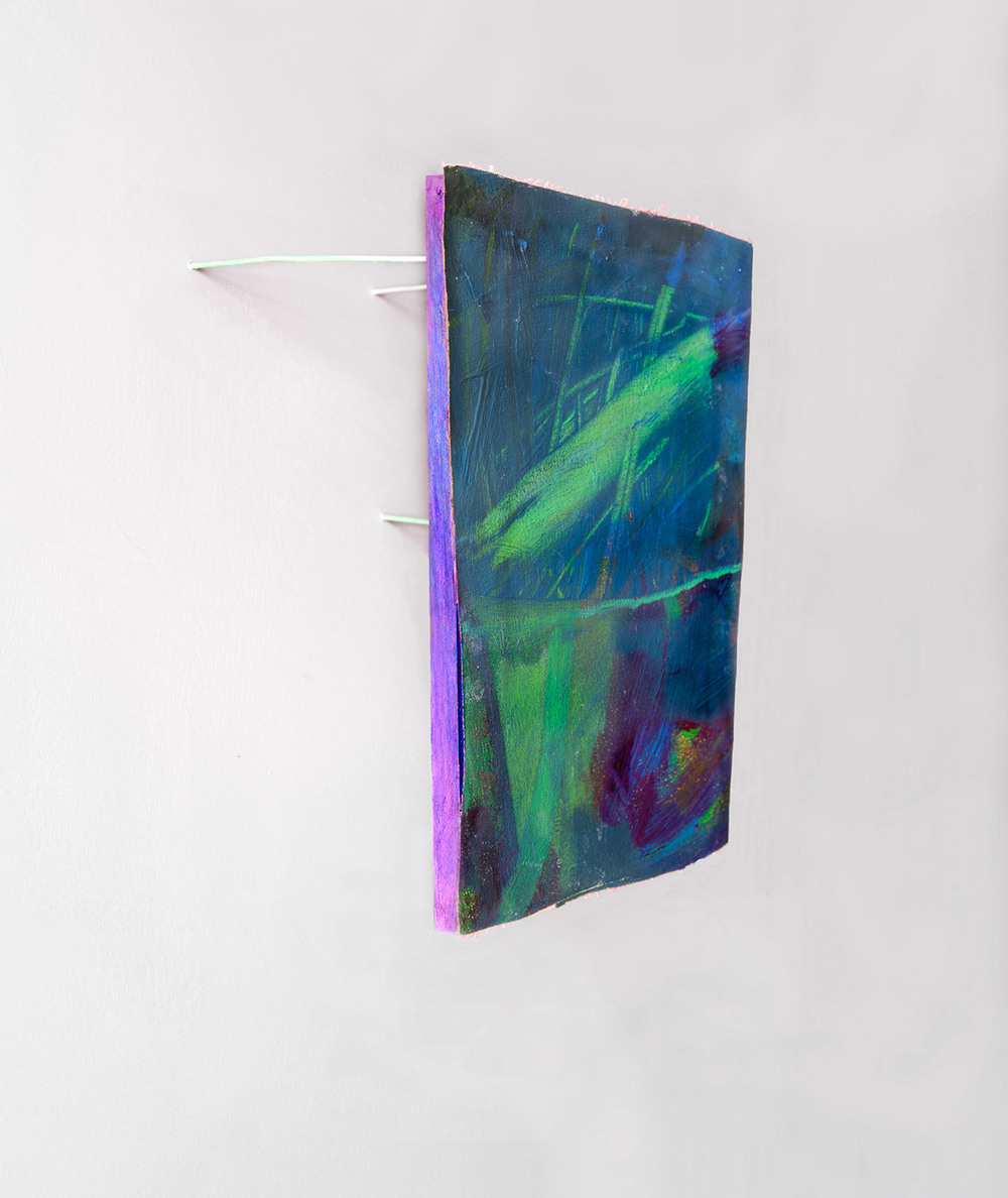 Possibly Now VIII   Oil on canvas, wood, wire rods 10 × 9 × 6 inches 25 × 23 × 16 cm 2014