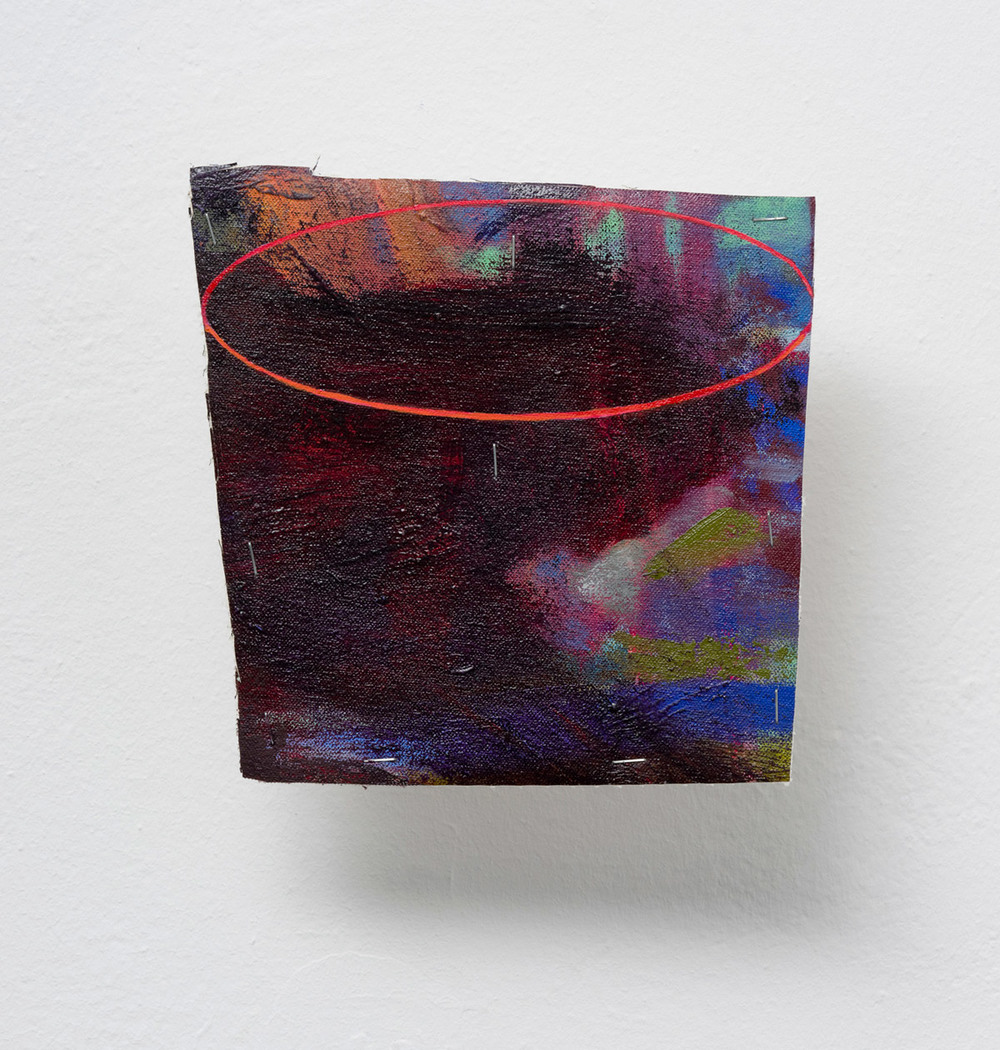Possibly Now IX   Oil on canvas, wood, wire rods 8 × 8 × 5.5 inches 20 × 20 × 14 cm 2014