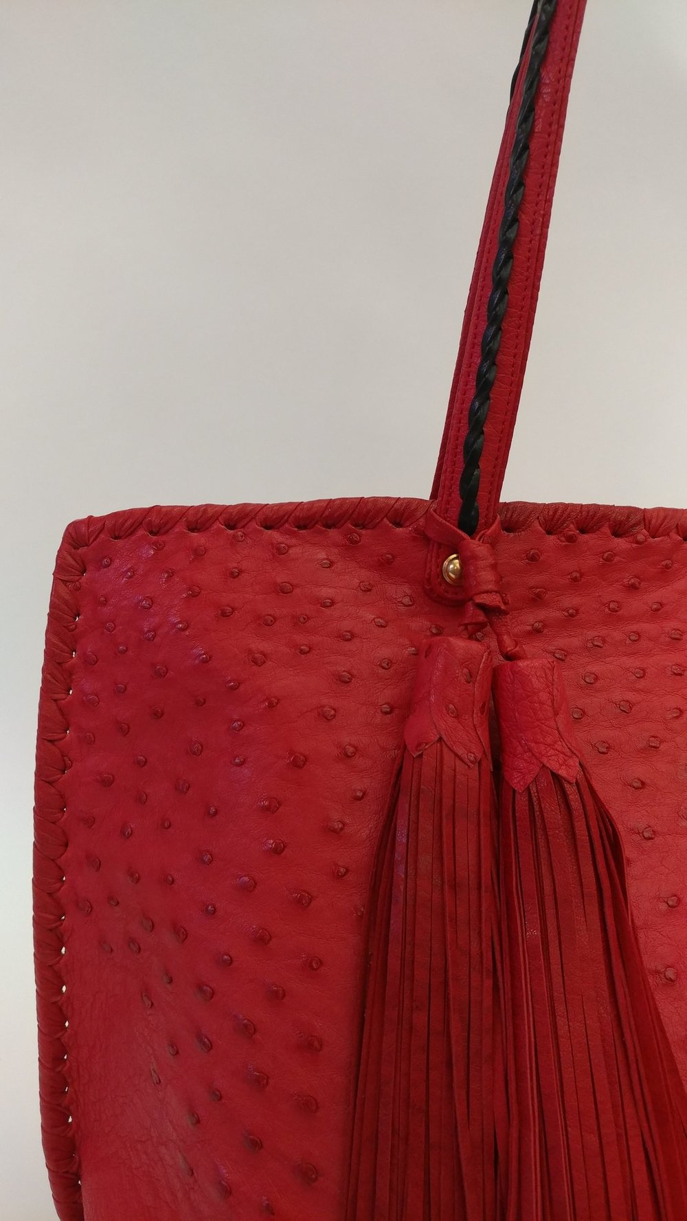 Custom red ostrich bag to match Carol H.'s car!