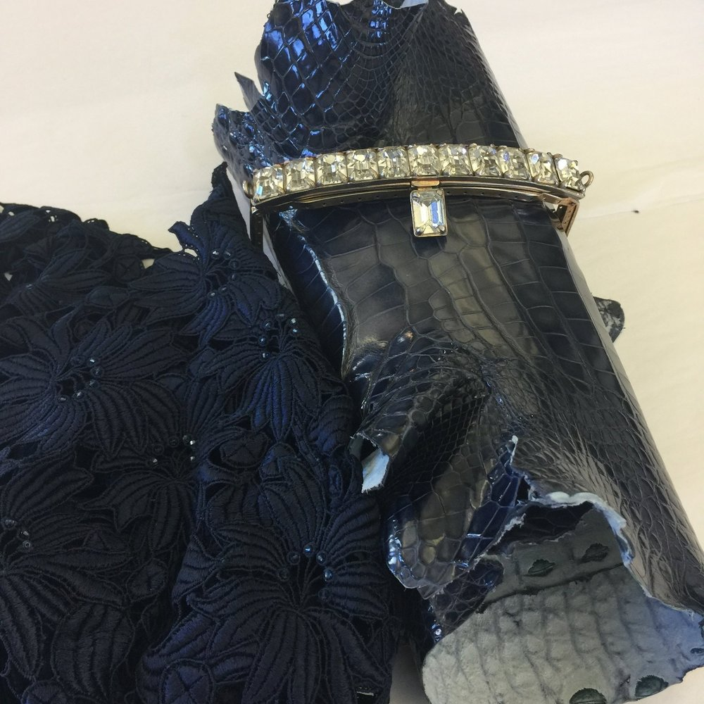 Custom alligator bag to coordinate with lace gown for Jeri D.
