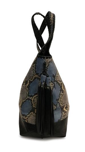 9acc7b61 ... Stella Hobo Handbag Blue Mix Genuine Python Black Leather With Tassels  With Tassels