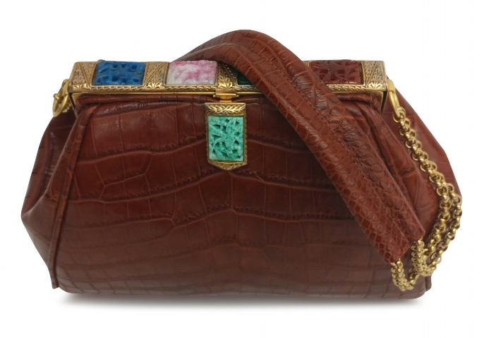 Cognac alligator frame handbag .JPGC