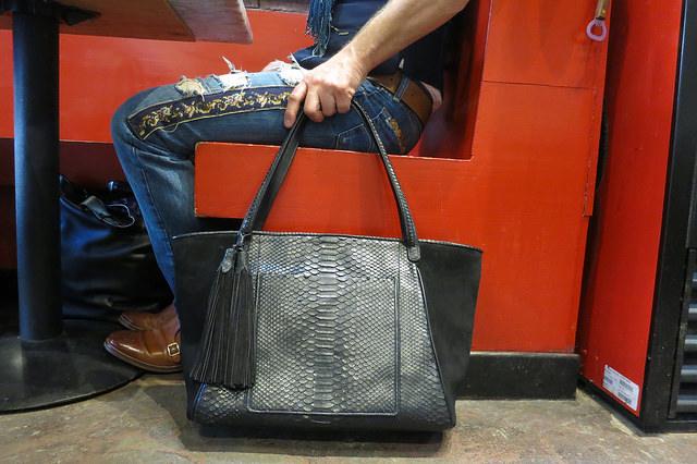 tapestry jeans and black python handbag.jpg