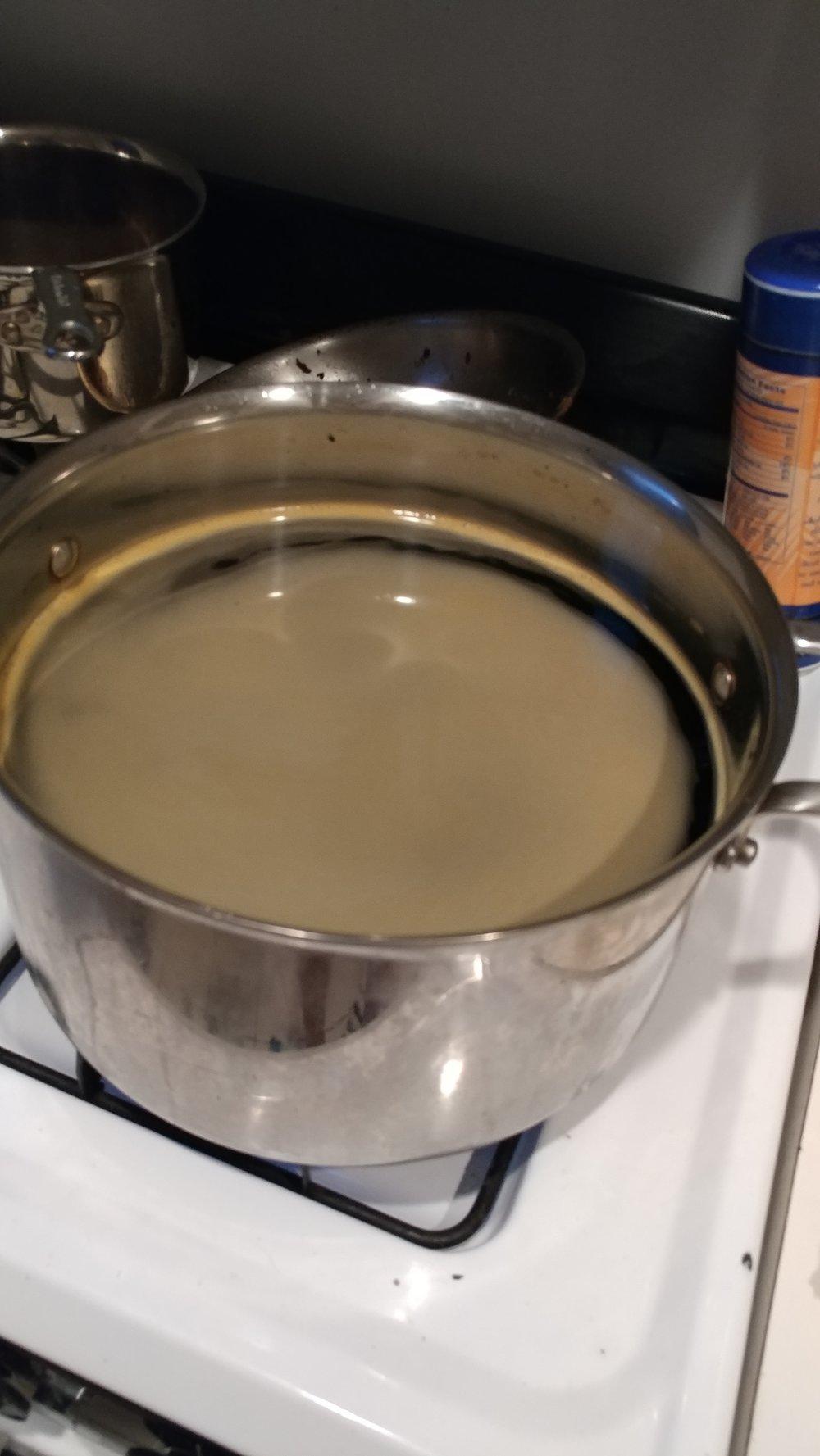 Tie Dye process - first boil water and add dye
