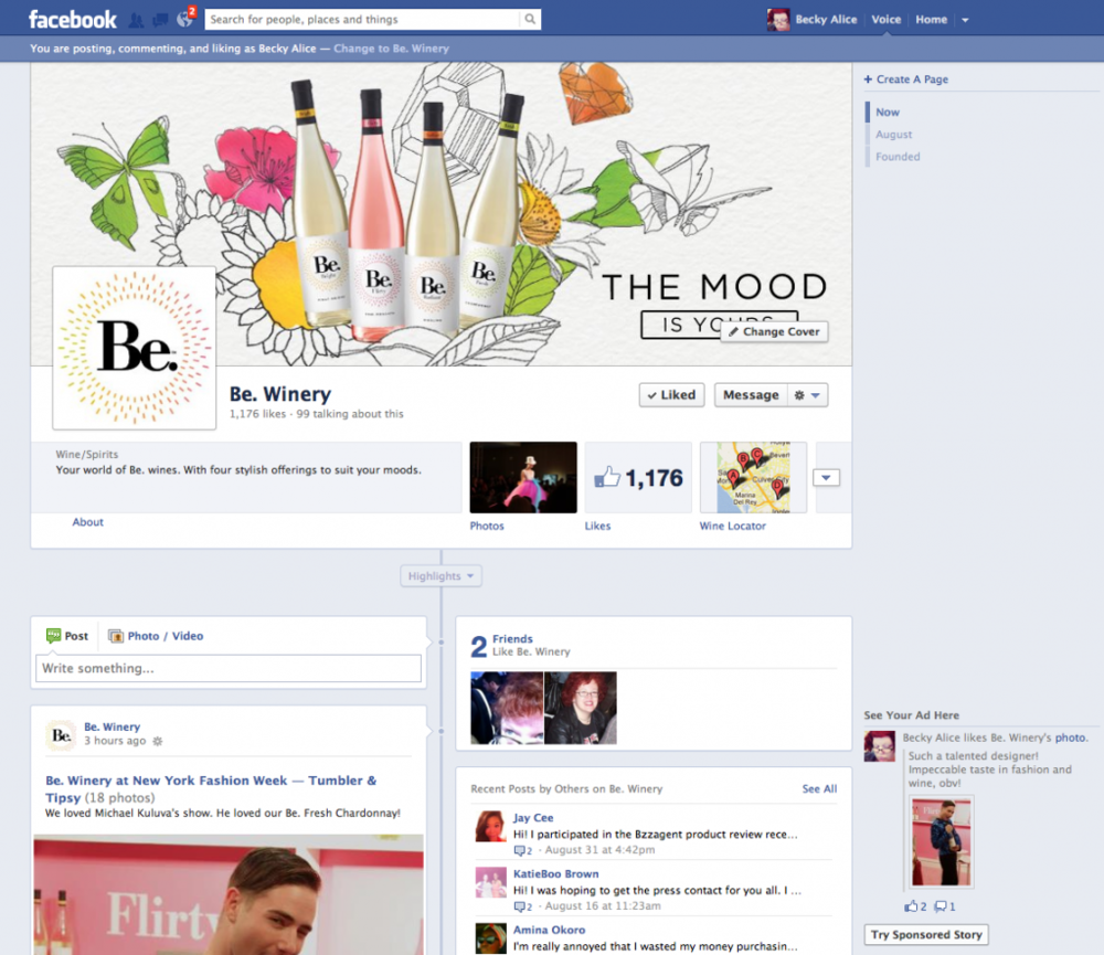 Be Wines: Facebook Presence