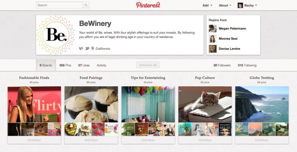 Be Wines: Pinterest Presence