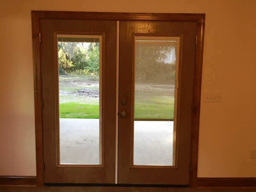 French Doors to Open Porch Blinds Open/Close Behind Glass