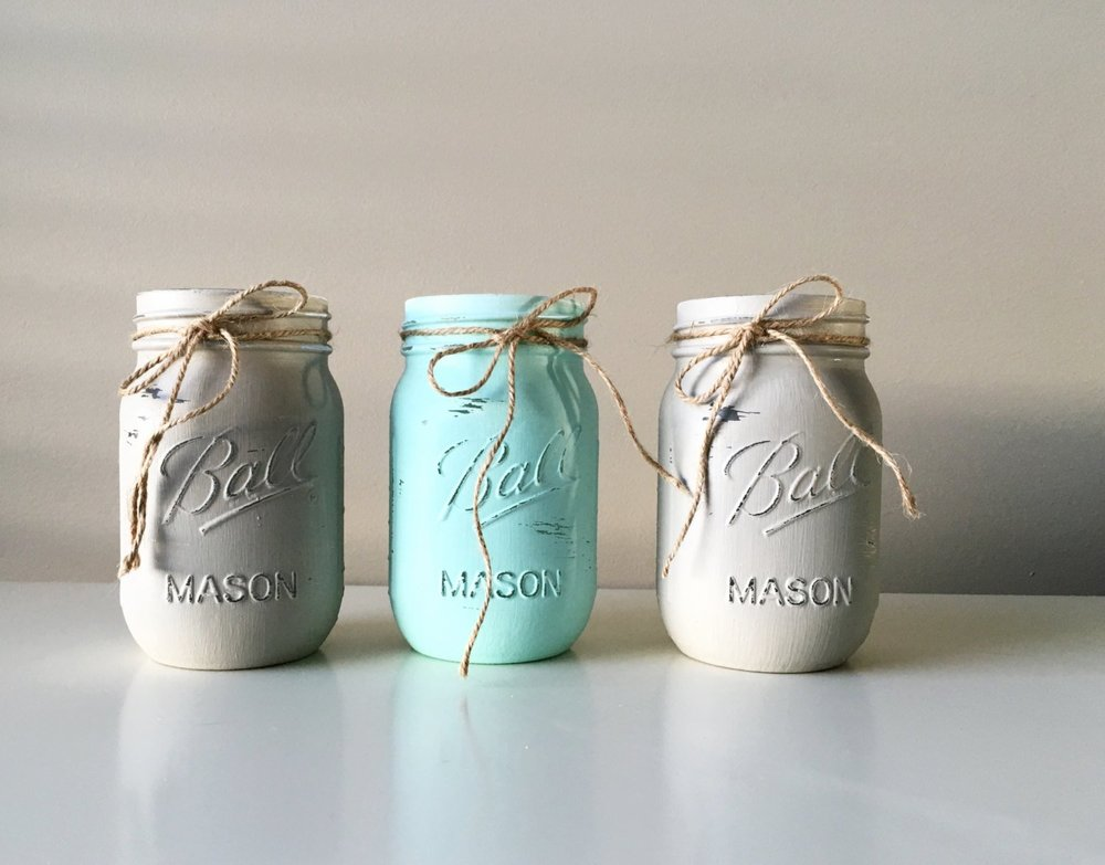 Baby Boy Shower Decorations Painted Mason Jars Baby Shower