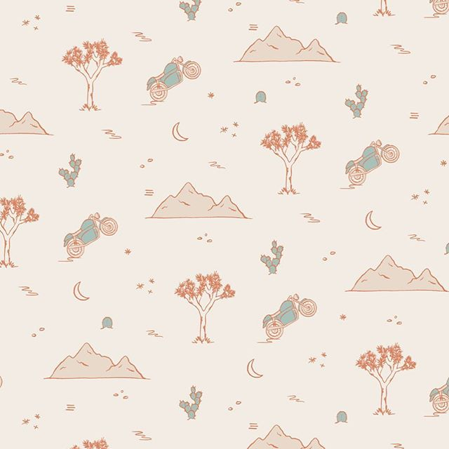 Little desert repeat pattern from a series for a past client of mine! Loved working on these little motorcycles and Joshua trees ✨ . . . #freelancedesigner #illustration #womenofillustration #repeatpattern #adobeillustrator #applepencil #procreateappart #joshuatree