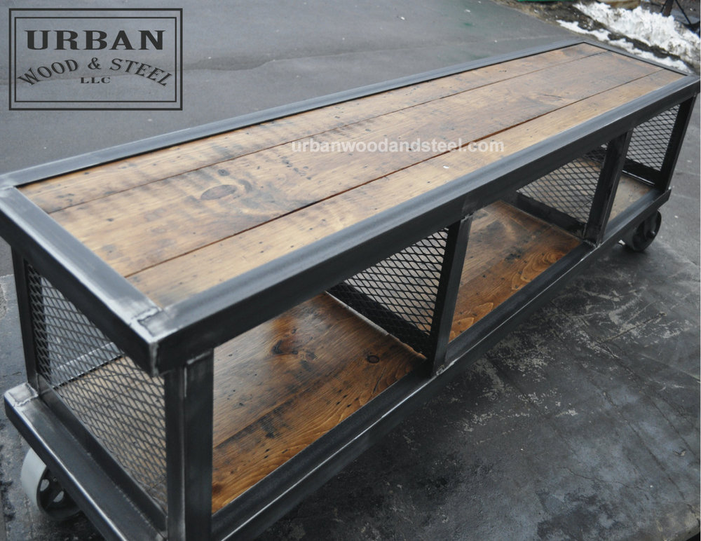 Copley urban industrial coffee table urban wood steel llc for Coffee tables industrial