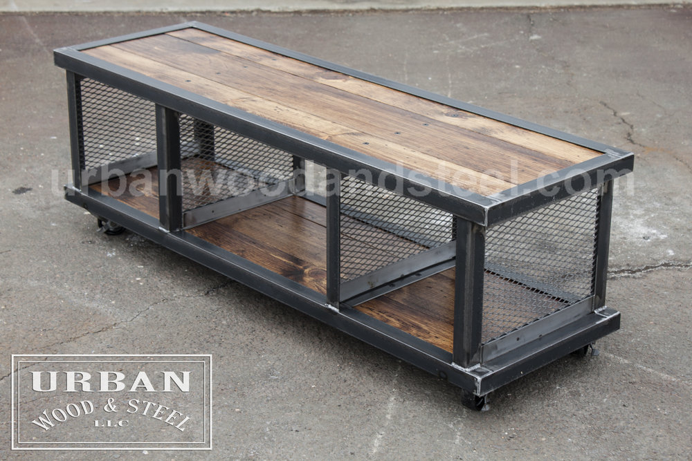 copley urban industrial coffee table urban wood steel llc. Black Bedroom Furniture Sets. Home Design Ideas